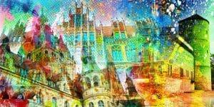 Collage Hannover. Pop-Art Kunstbilder, Leinwandart und Stadt Acrylbilder