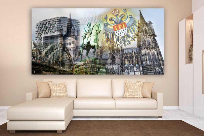 Collage Kölner Dom im Pop-Art Kunst Design auf Leinwand und Acryl