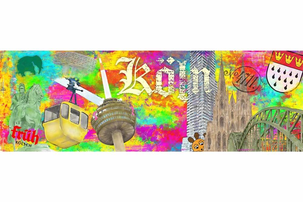Collage Köln mit allen DOM Stadt Highlights als Panorama Kunst Motiv