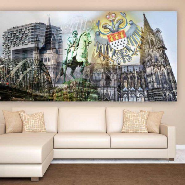 collage k lner dom im pop art kunst design auf leinwand und acryl. Black Bedroom Furniture Sets. Home Design Ideas
