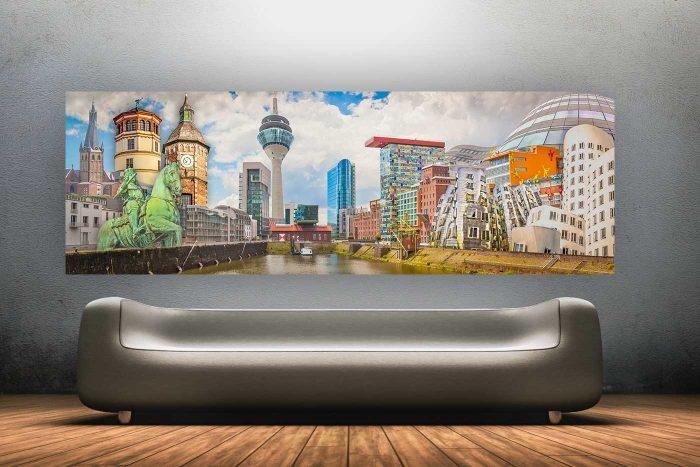 Collage Kunst aus Düsseldorf am Rhein im Panorama Pop-Art Design