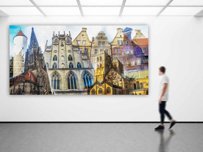 Collage Münster als Panorama Pop-Art Kunst. Bilder auf Leinwand & Acryl