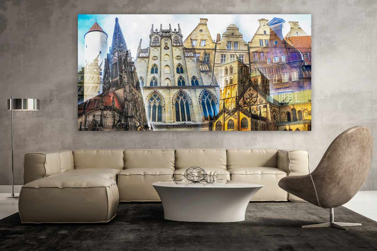 Collage Münster als Panorama Pop-Art Kunst. Bilder auf Leinwand & Acryl