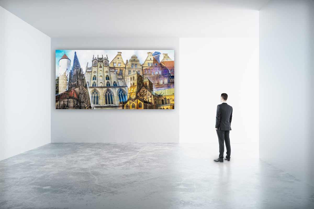 collage m nster als panorama pop art kunst bilder auf leinwand acryl. Black Bedroom Furniture Sets. Home Design Ideas
