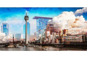 Collage Medienhafen Düsseldorf | Hafen Motive auf 1 Kunst Bild