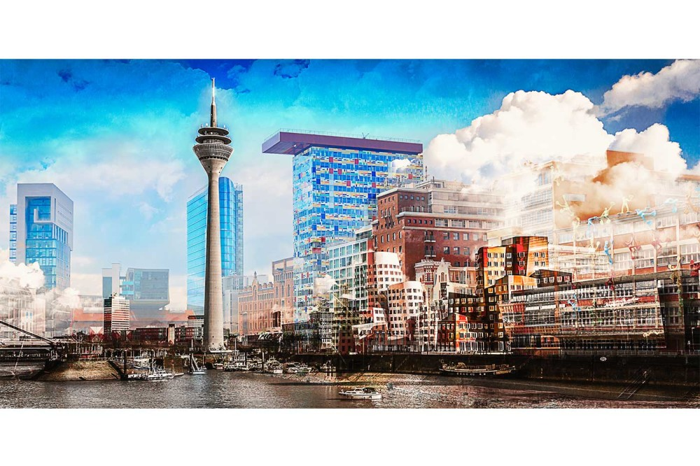 medienhafen d sseldorf skyline bilder mit rheinturm rhein und hafen. Black Bedroom Furniture Sets. Home Design Ideas