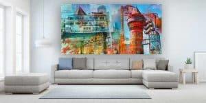 Collage Mülheim an der Ruhr. Leinwandbilder und Pop-Art Glasbilder