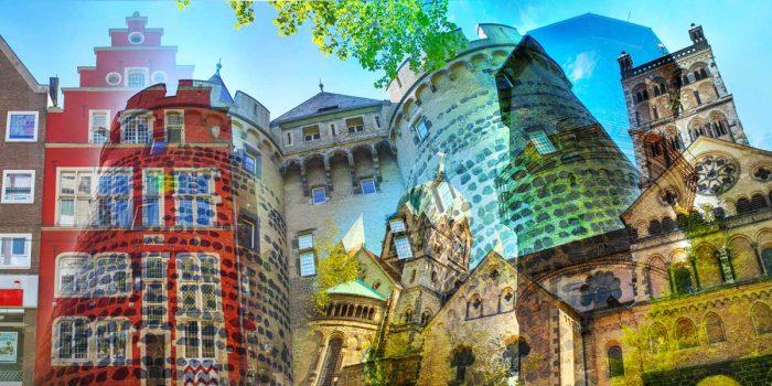 Collage Neuss am Rhein. Panorama Kunstbilder und Pop-Art Motive