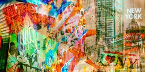 Collage New York - Moderne Kunstbilder im Xl Panorama Format auf Acryl