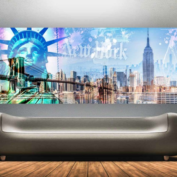 Collage New York Skyline. Pop-Art LOVE Panorama Art auf Acryl und Alu