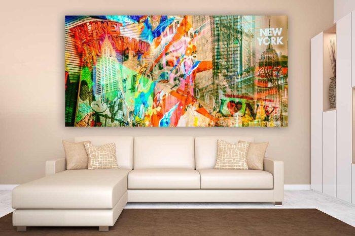 Collage New York - Moderne Kunstbilder im Xl Panorama Format auf Acryl