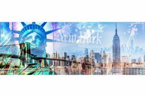 Collage New York Skyline. Pop-Art LOVE Panorama Art auf Acryl und Alu