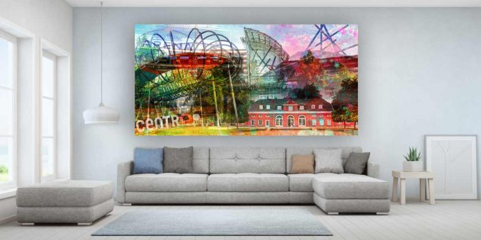 Collage Oberhausen als modernes AluArt Kunstbild PopArt Design.
