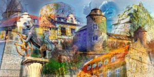 Collage Ratingen Bild | Modernes Kunst Panorama Motiv