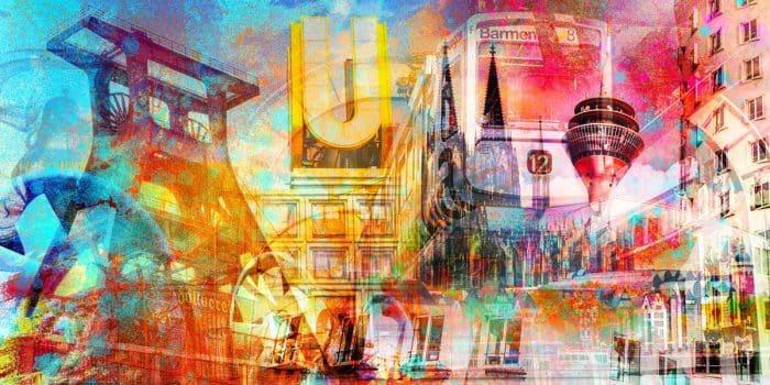 Collage Rheinland und NRW, Moderne Art Kunstmotive aus deiner Stadt