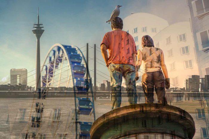 Collage Stadt Düsseldorf am Rhein. Panorama Bilder und Kunst Motive