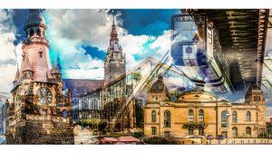Collage Wuppertal | Wuppertal Leinwandkunst, Panorama Bild und Collage, Schwebebahn Wuppertal
