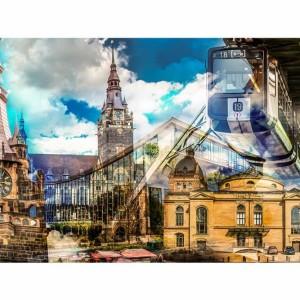 Collage Wuppertal   Wuppertal Leinwandkunst, Panorama Bild und Collage, Schwebebahn Wuppertal