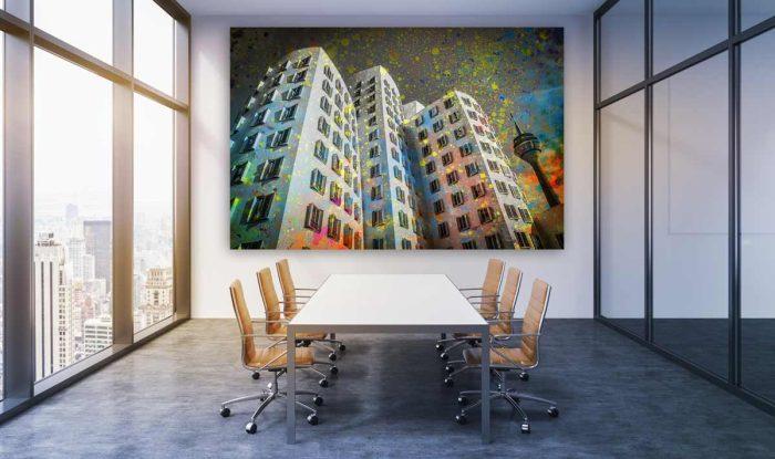 Düsseldorf Acrylcollage kaufen. Moderne Stadt Ansichten und Bilder