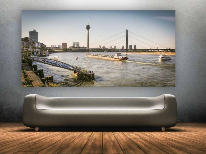 Düsseldorf Brücken - Stadt Kunst Bilder auf Leinwand und Acryl
