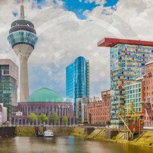 Düsseldorf Collage Pop Art Style und Panorama Art Kunst Bild Motive