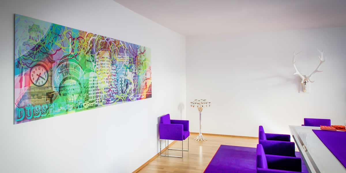 Düsseldorf-Collage-Pop-Art-Wandbild-in-3x1-Meter