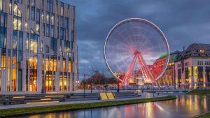 Düsseldorf Riesenrad Königsallee | Nacht Panorama des Riesenrads