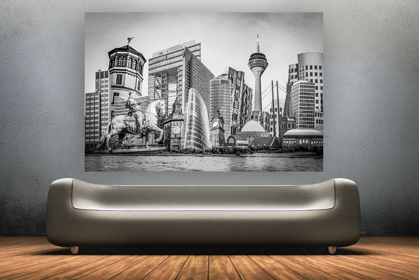 d sseldorf schwarz wei collage auf leinwand und acryl mit rheinturm. Black Bedroom Furniture Sets. Home Design Ideas