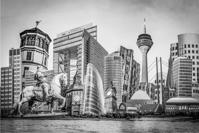 Düsseldorf schwarz-weiß Collage auf Leinwand und Acryl mit Rheinturm