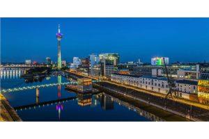 Düsseldorfer Ansichten bei Nacht | Stadtpanorama View Bild