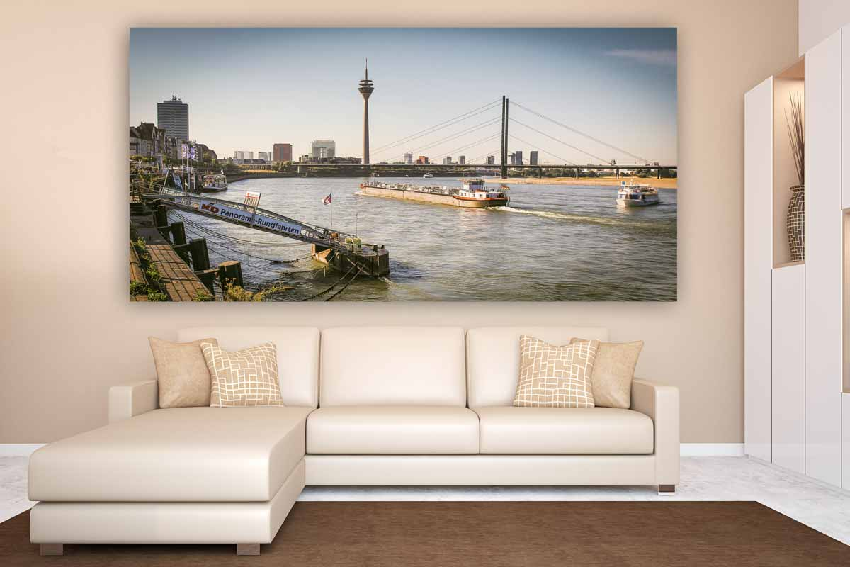 d sseldorf br cken stadt kunst bilder auf leinwand und acryl. Black Bedroom Furniture Sets. Home Design Ideas