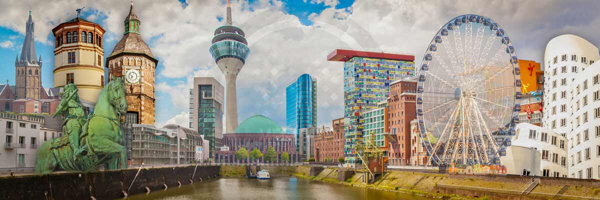 Düsseldorf Collage Pop Art Style und Panorama Art Kunst Bild Motive