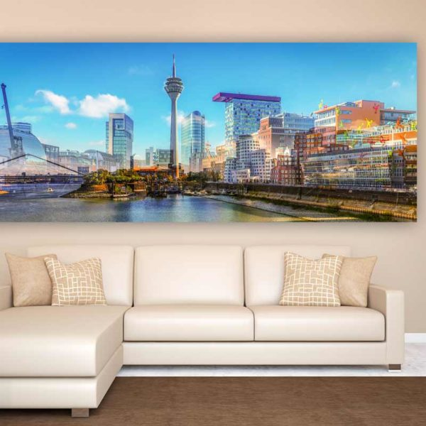 d sseldorf medienhafen panorama skyline bild des hafen mit rheinturm. Black Bedroom Furniture Sets. Home Design Ideas