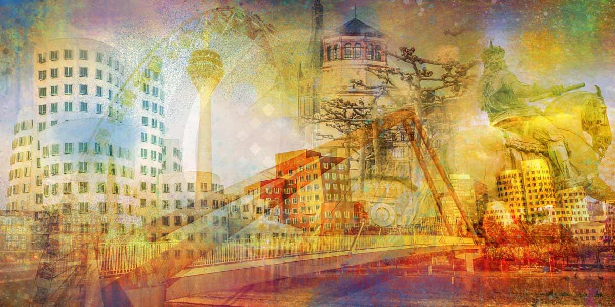 Düsseldorf Glasbild. Moderne Stadt Kunst Art Bilder im Pop-Art Design