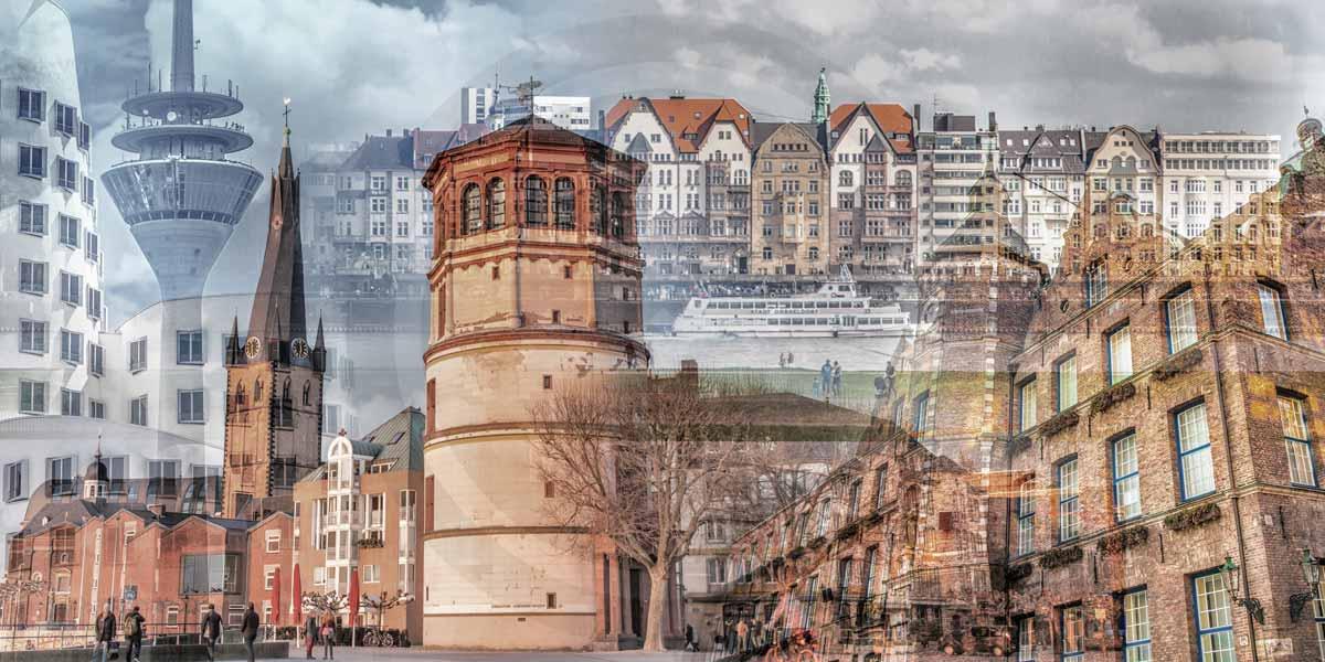 Düsseldorf Stadtpanorama Collage - Modernes Rhein Bild auf Acryl