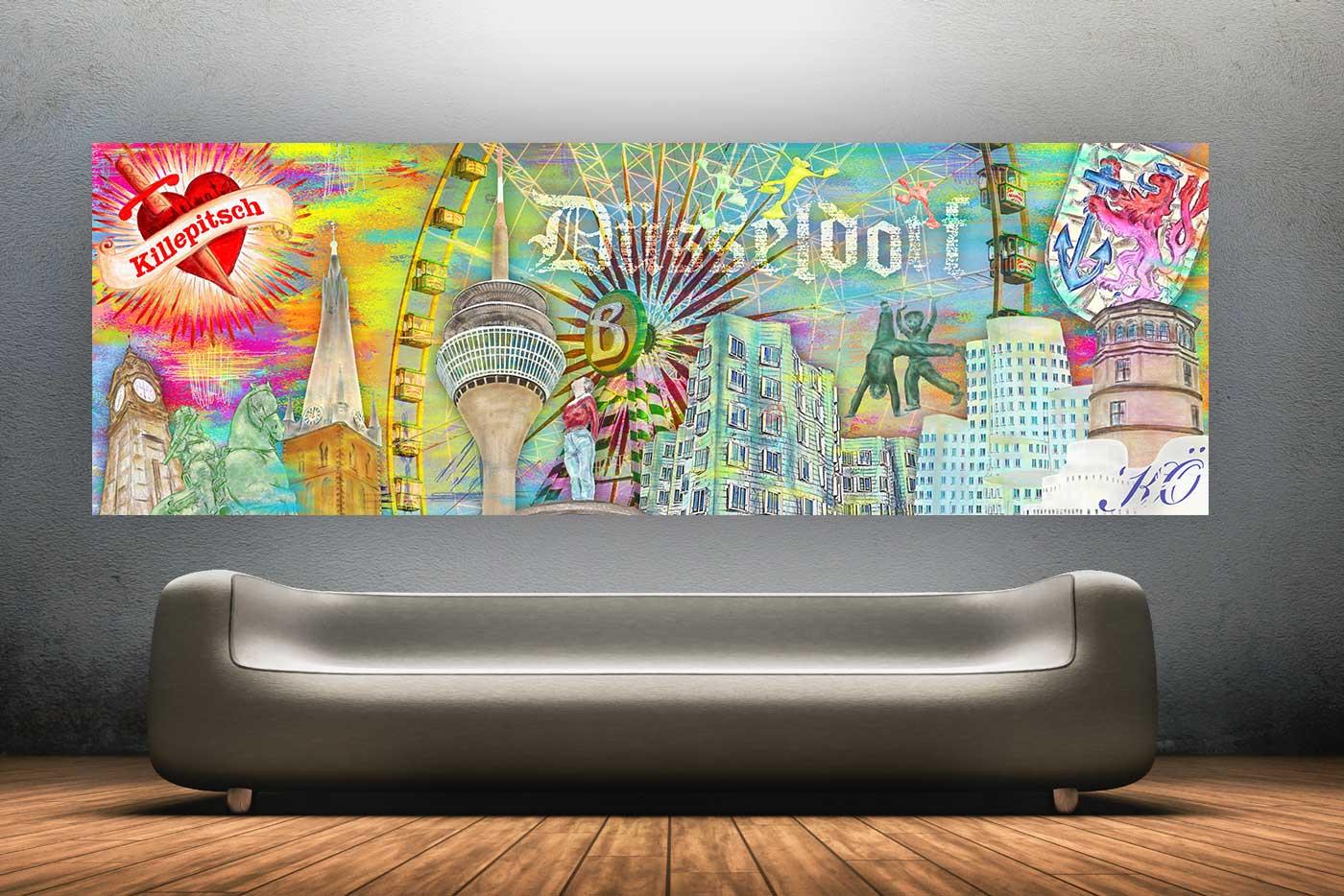 stadt d sseldorf kunst collage modernes pop art design f r jede wand panorama pop art kunst. Black Bedroom Furniture Sets. Home Design Ideas