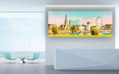 Düsseldorf Glasbild Panorama Rhein und Rheinwiesen Oberkassel.