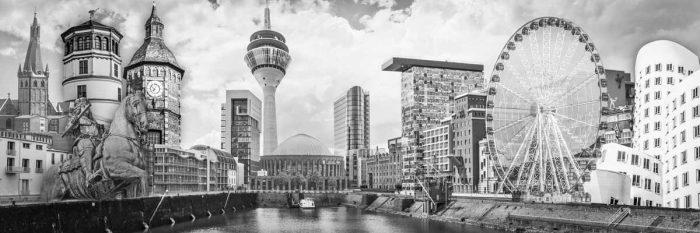 Düsseldorf Schwarz weiß Kunst, Panorama Bilder, Collagen und Motive
