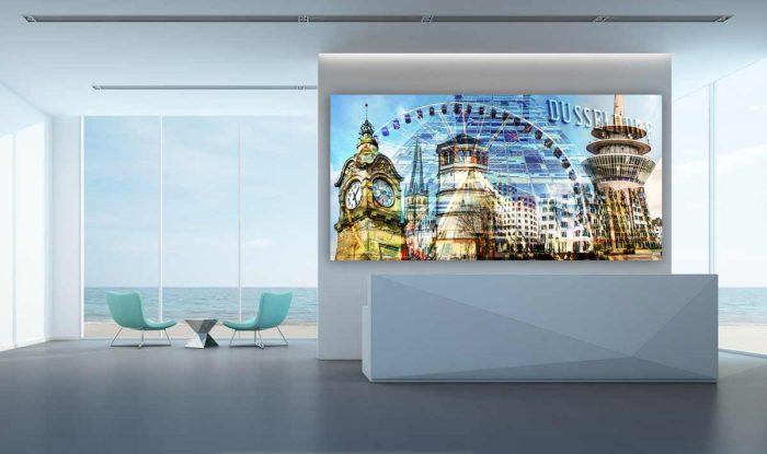Düsseldorfer Ansichten im Panorama Kunst Design. Moderne Wandbilder