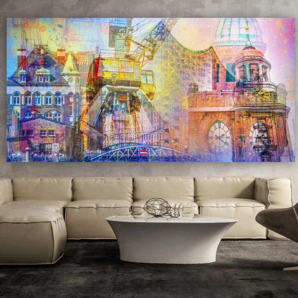 fotocollage hamburg auf leinwand und acryl michel und elbphilharmonie. Black Bedroom Furniture Sets. Home Design Ideas