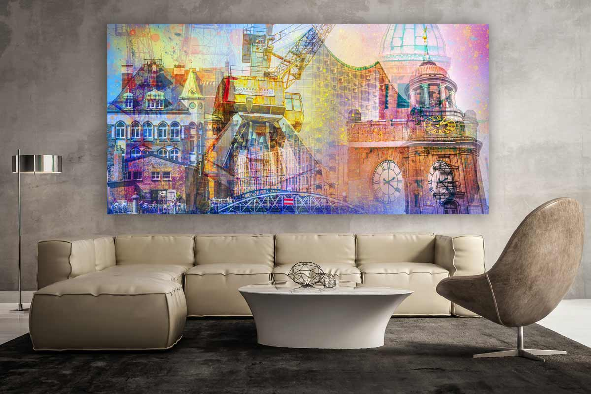 fotocollage hamburg auf leinwand und acryl michel und elbphilharmonie. Black Bedroom Furniture Sets. Home Design Ideas