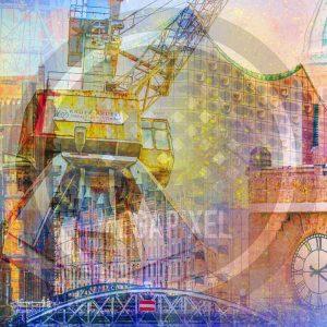 Fotocollage Hamburg auf Leinwand und Acryl. Michel und Elbphilharmonie