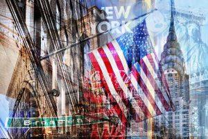 Fotocollage New York im Pop-Art Design auf Leinwand und auf Acryl.