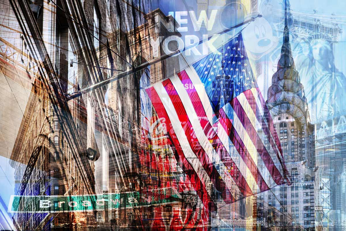 Fotocollage new york im pop art design auf leinwand und for Kuchenbilder auf leinwand