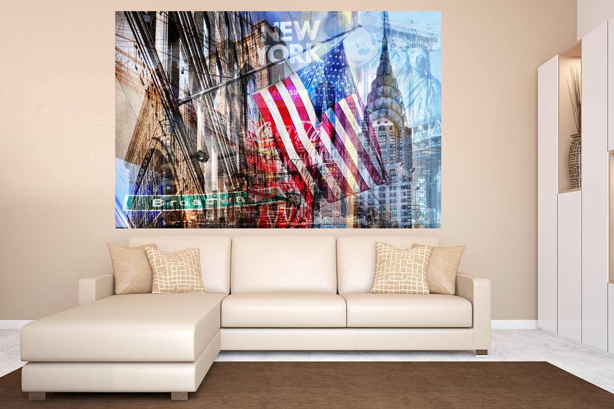 fotocollage new york im pop art design auf leinwand und. Black Bedroom Furniture Sets. Home Design Ideas