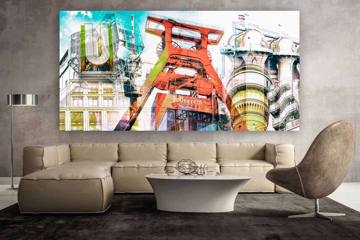 fotocollage ruhrgebiet auf leinwand und acryl als pop art. Black Bedroom Furniture Sets. Home Design Ideas
