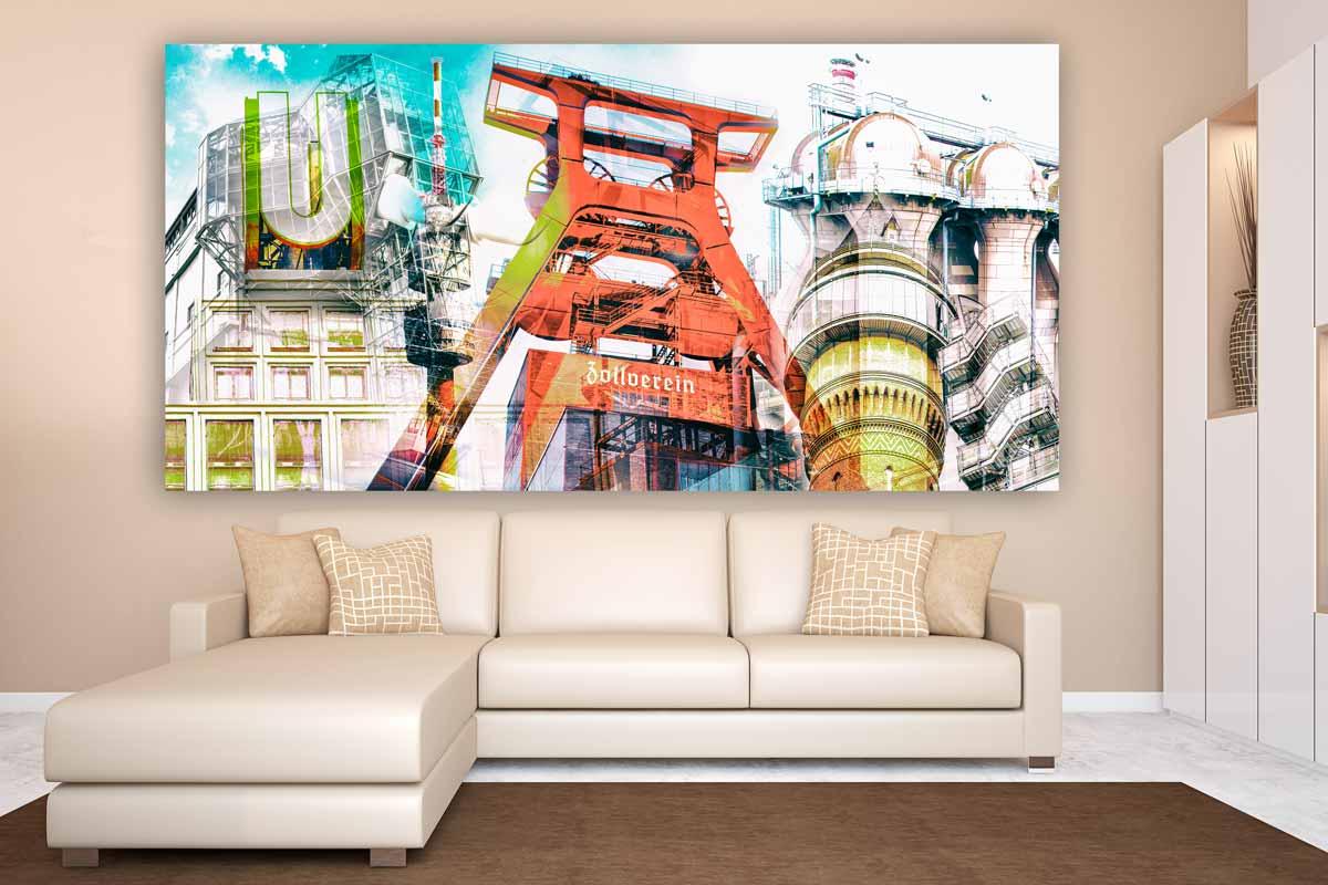 fotocollage ruhrgebiet auf leinwand und acryl als pop art. Black Bedroom Furniture Sets. Home Design Ideas