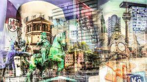 Fotokunst Düsseldorf Collage Motiv Heimatliebe als modernes Wandbild