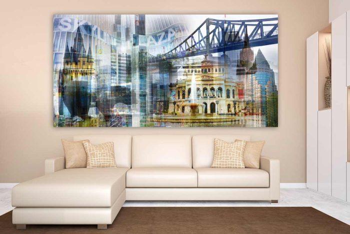 Frankfurt Collage im Pop-Art Panorama Design als Acryl und Leinwand Art