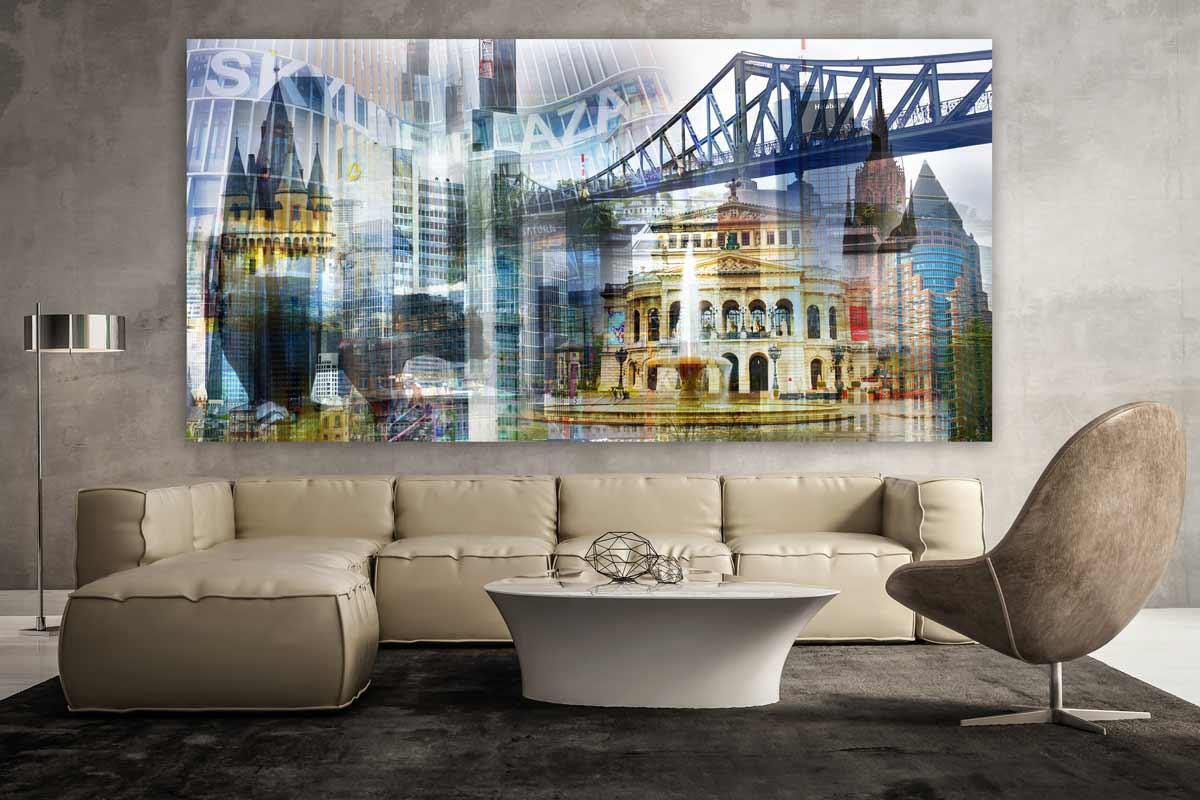 Frankfurt Collage Im Pop Art Panorama Design Als Acryl Und Leinwand Art